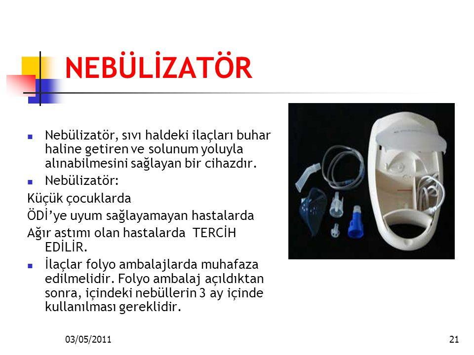 03/05/201121 NEBÜLİZATÖR Nebülizatör, sıvı haldeki ilaçları buhar haline getiren ve solunum yoluyla alınabilmesini sağlayan bir cihazdır. Nebülizatör: