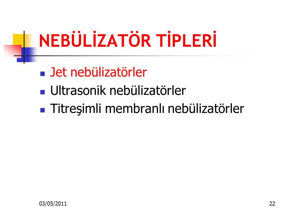 NEBÜLİZATÖR TİPLERİ Jet nebülizatörler Ultrasonik nebülizatörler Titreşimli membranlı nebülizatörler 03/05/201122