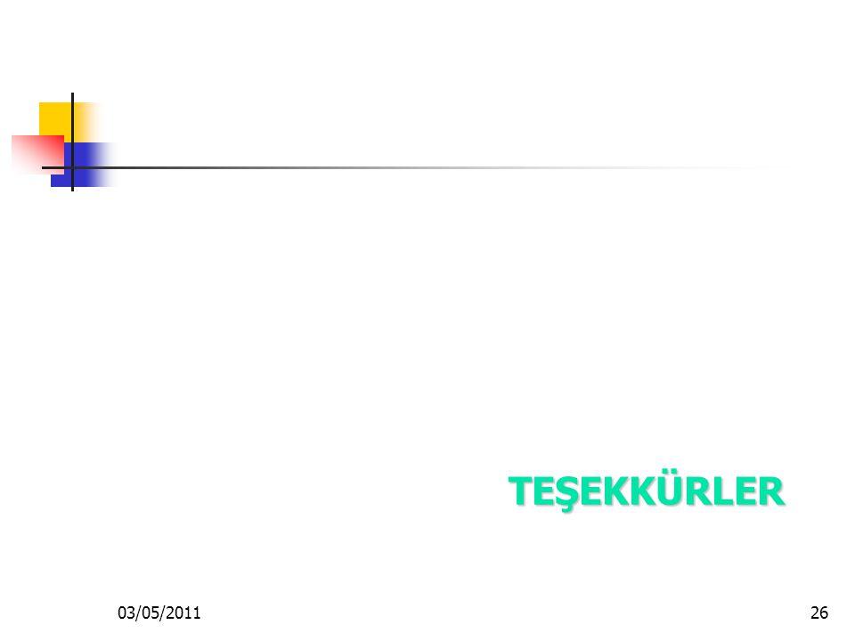 03/05/201126 TEŞEKKÜRLER TEŞEKKÜRLER