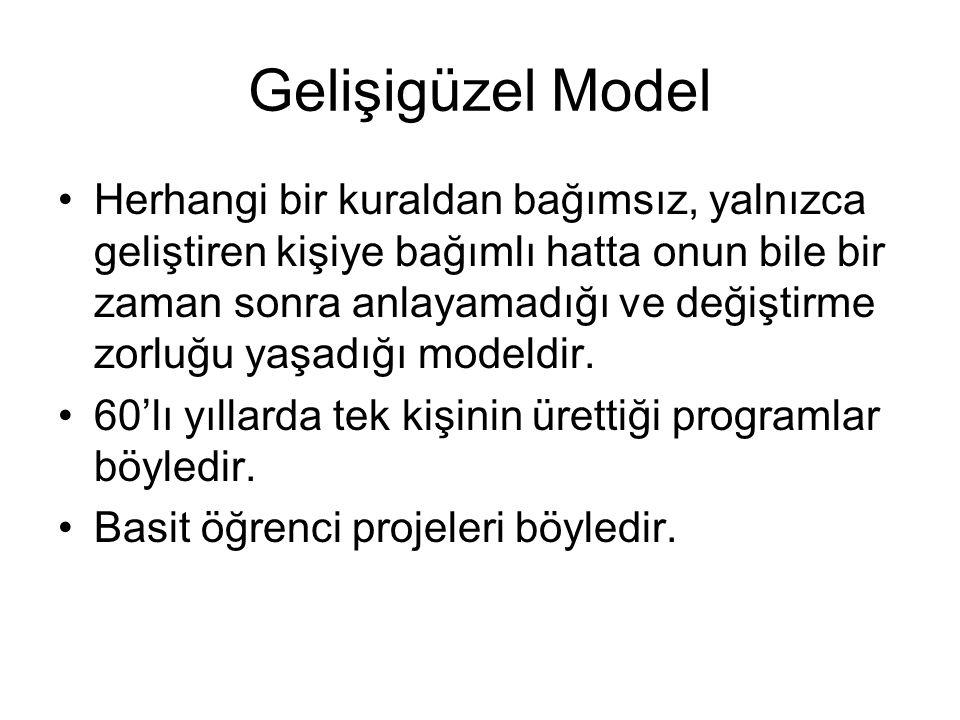 Gelişigüzel Model Herhangi bir kuraldan bağımsız, yalnızca geliştiren kişiye bağımlı hatta onun bile bir zaman sonra anlayamadığı ve değiştirme zorluğu yaşadığı modeldir.