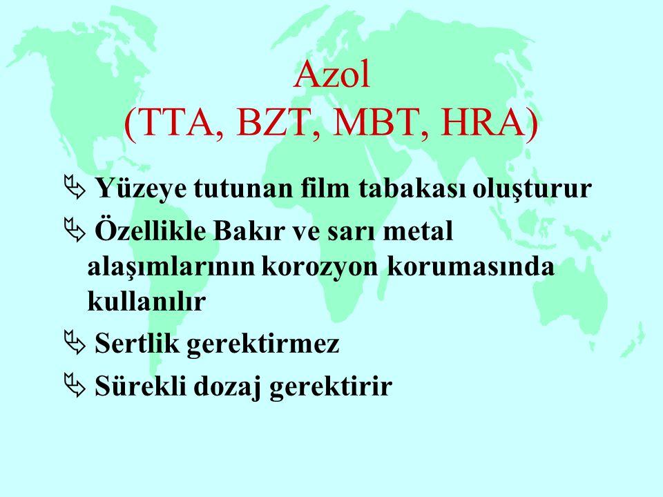 Azol (TTA, BZT, MBT, HRA)  Yüzeye tutunan film tabakası oluşturur  Özellikle Bakır ve sarı metal alaşımlarının korozyon korumasında kullanılır  Ser