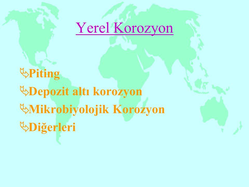 Yerel Korozyon  Piting  Depozit altı korozyon  Mikrobiyolojik Korozyon  Diğerleri