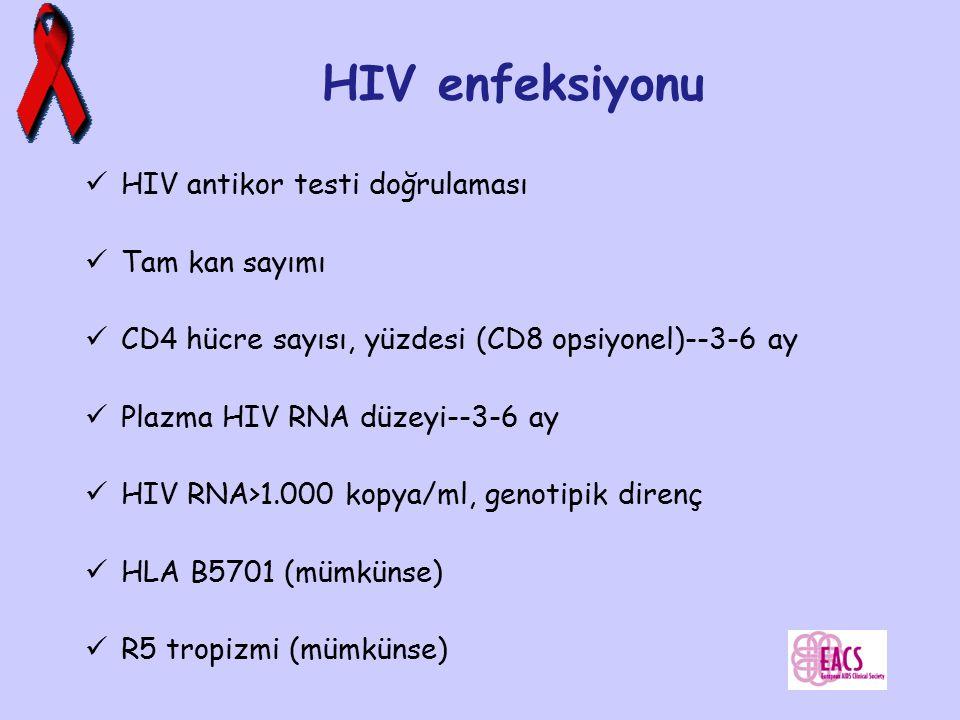 HIV enfeksiyonu HIV antikor testi doğrulaması Tam kan sayımı CD4 hücre sayısı, yüzdesi (CD8 opsiyonel)--3-6 ay Plazma HIV RNA düzeyi--3-6 ay HIV RNA>1