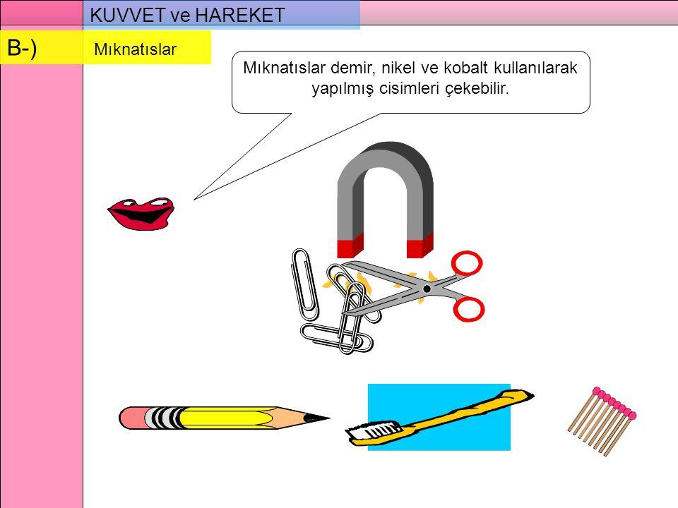 KUVVET ve HAREKET Mıknatıslar demir, nikel ve kobalt kullanılarak yapılmış cisimleri çekebilir.
