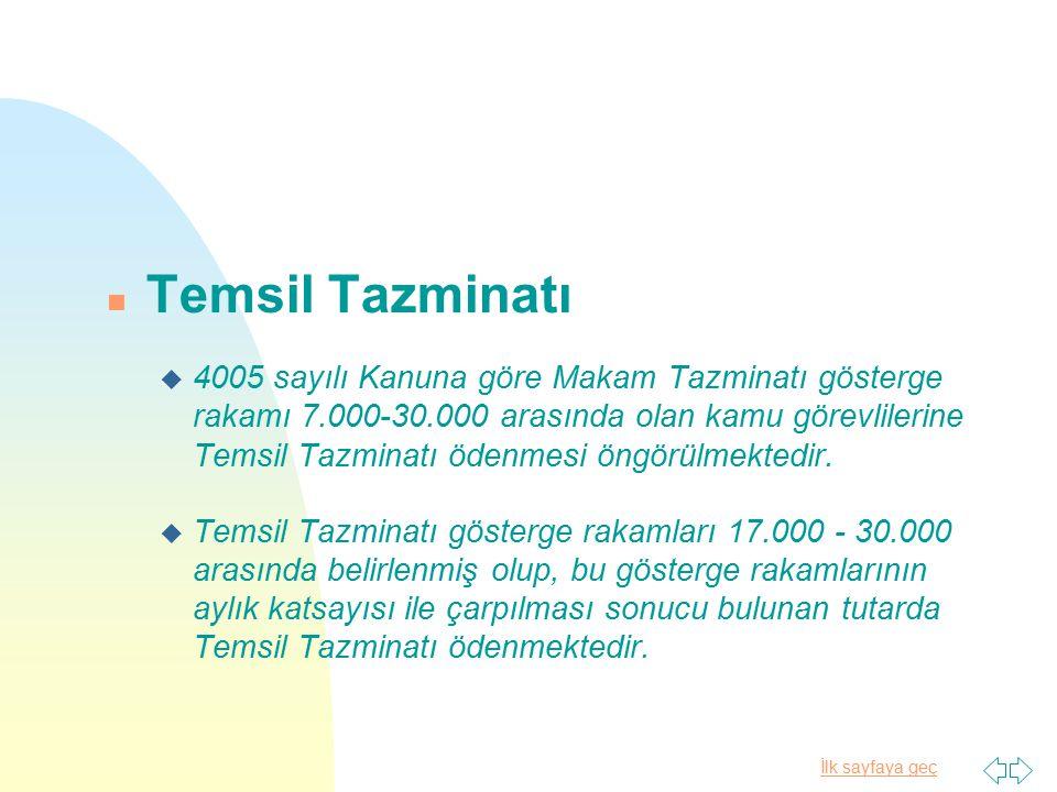 İlk sayfaya geç n Temsil Tazminatı u 4005 sayılı Kanuna göre Makam Tazminatı gösterge rakamı 7.000-30.000 arasında olan kamu görevlilerine Temsil Tazm
