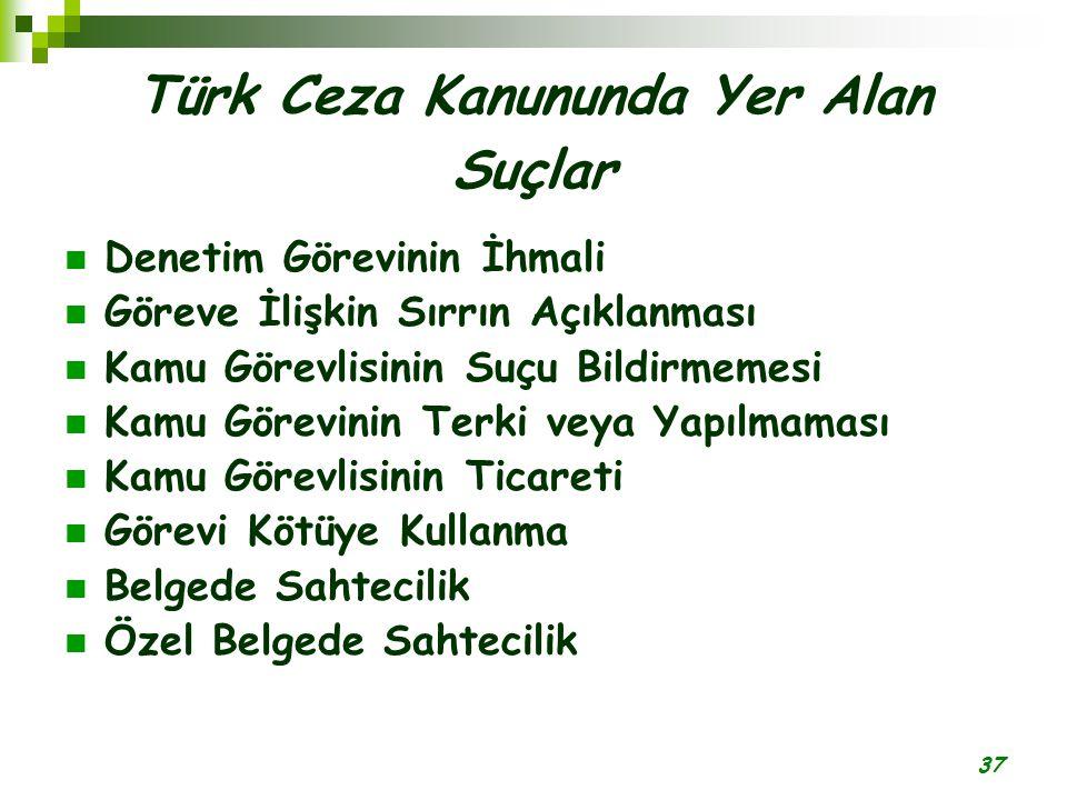 37 Türk Ceza Kanununda Yer Alan Suçlar Denetim Görevinin İhmali Göreve İlişkin Sırrın Açıklanması Kamu Görevlisinin Suçu Bildirmemesi Kamu Görevinin T