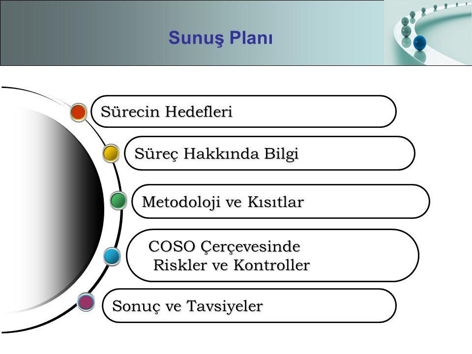 Sunuş Planı Sonuç ve Tavsiyeler COSO Çerçevesinde Riskler ve Kontroller Riskler ve Kontroller Süreç Hakkında Bilgi Metodoloji ve Kısıtlar Sürecin Hede