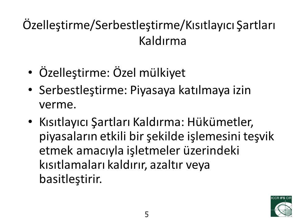 Reformların Durumu (1) Elektrik – Karma mülkiyet kamu/özel – (resmi olarak) Tamamen serbestleştirilmiş – Sınırlı rekabet Telekomünikasyon – (neredeyse) Tamamen özel mülkiyet – Tamamen serbestleştirilmiş – Güçlü rekabet 6