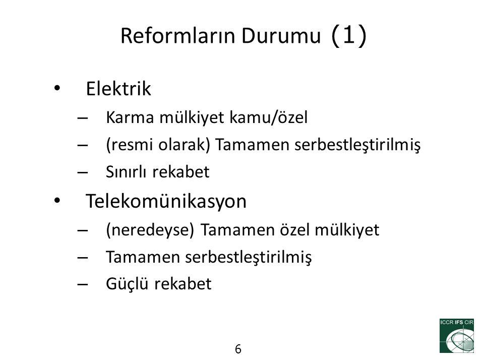 Reformların Durumu (1) Elektrik – Karma mülkiyet kamu/özel – (resmi olarak) Tamamen serbestleştirilmiş – Sınırlı rekabet Telekomünikasyon – (neredeyse
