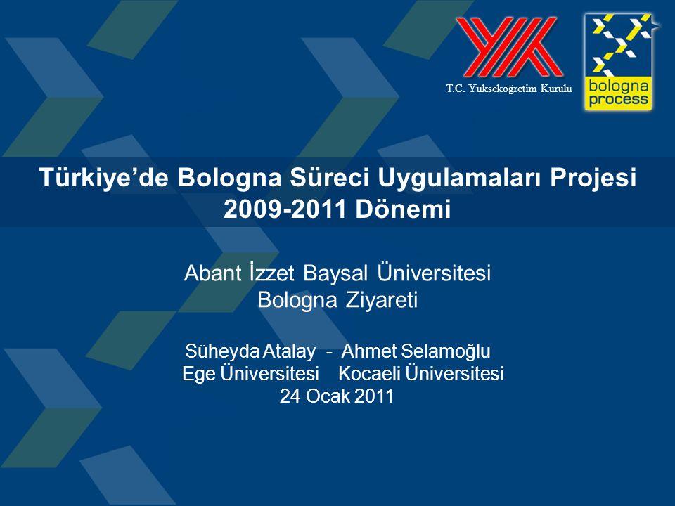 1 T.C. Yükseköğretim Kurulu Türkiye'de Bologna Süreci Uygulamaları Projesi 2009-2011 Dönemi Abant İzzet Baysal Üniversitesi Bologna Ziyareti Süheyda A