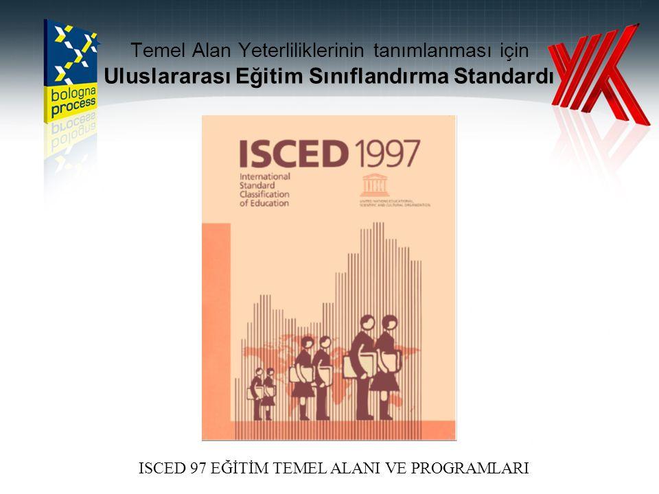 Temel Alan Yeterliliklerinin tanımlanması için Uluslararası Eğitim Sınıflandırma Standardı ISCED 97 EĞİTİM TEMEL ALANI VE PROGRAMLARI