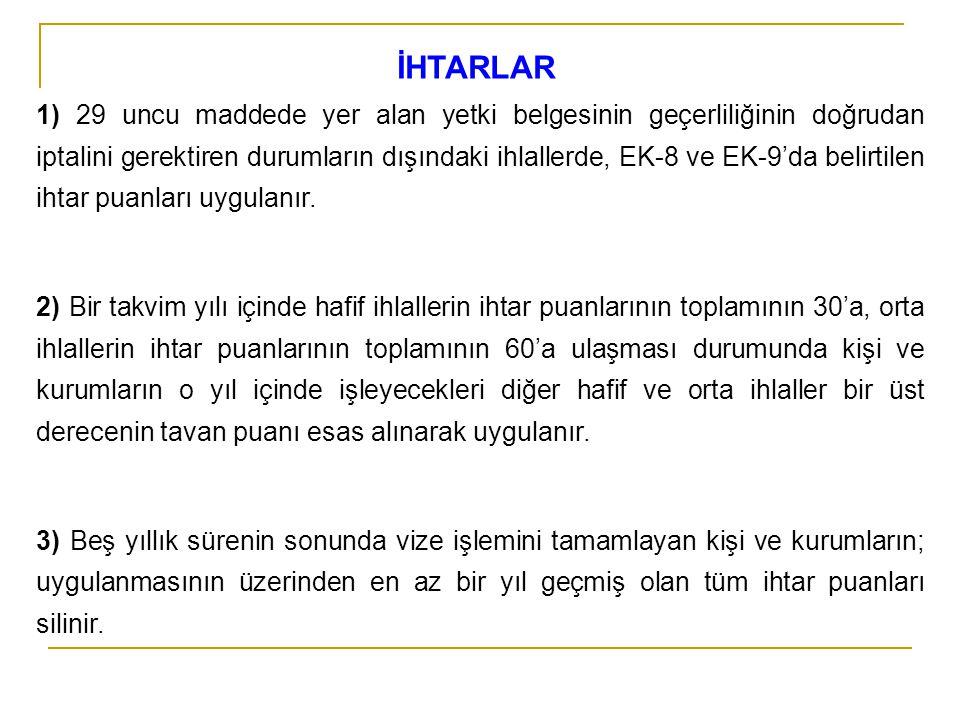 İHTARLAR 1) 29 uncu maddede yer alan yetki belgesinin geçerliliğinin doğrudan iptalini gerektiren durumların dışındaki ihlallerde, EK-8 ve EK-9'da bel