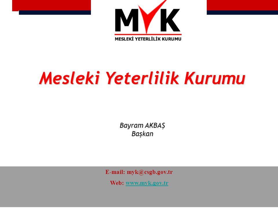 Mesleki Yeterlilik Kurumu Bayram AKBAŞ Başkan E-mail: myk@csgb.gov.tr Web: www.myk.gov.trwww.myk.gov.tr