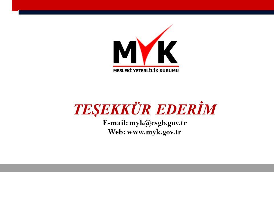 TEŞEKKÜR EDERİM E-mail: myk@csgb.gov.tr Web: www.myk.gov.tr