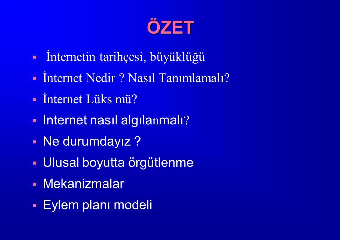 ÖZET  İnternetin tarihçesi, büyüklüğü  İnternet Nedir ? Nasıl Tanımlamalı?  İnternet Lüks mü?  Internet nasıl algıla n malı ?  Ne durumdayız ? 
