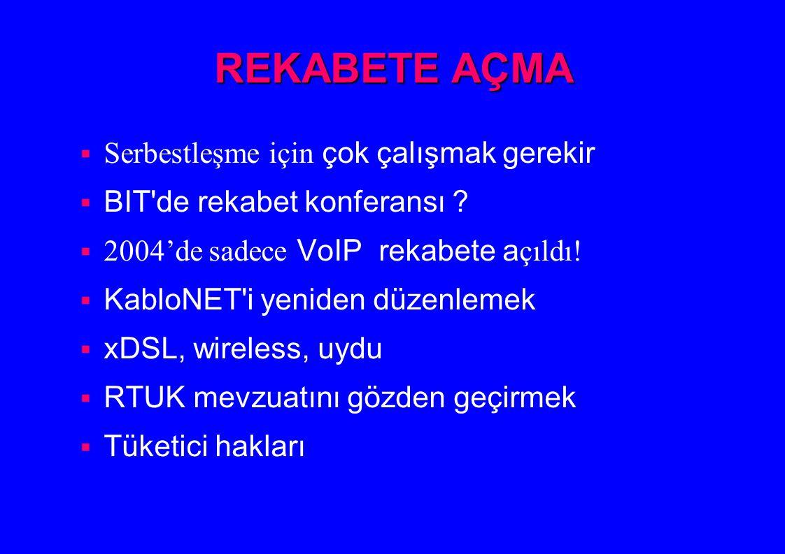 REKABETE AÇMA  Serbestleşme için çok çalışmak gerekir  BIT'de rekabet konferansı ?  2004'de sadece VoIP rekabete a çıldı!  KabloNET'i yeniden düze