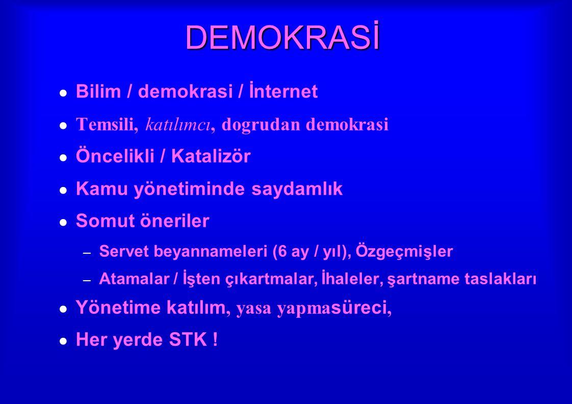DEMOKRASİ ● Bilim / demokrasi / İnternet ● Temsili, katılımcı, dogrudan demokrasi ● Öncelikli / Katalizör ● Kamu yönetiminde saydamlık ● Somut önerile