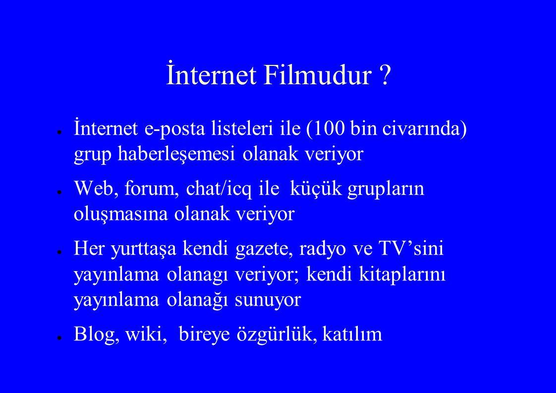 İnternet Filmudur ? ● İnternet e-posta listeleri ile (100 bin civarında) grup haberleşemesi olanak veriyor ● Web, forum, chat/icq ile küçük grupların