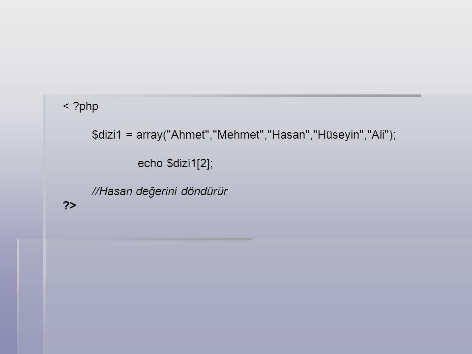 Kod: < ?php $dizi2 = array(array(adi=> Yavuz ,soyadi=> Düzgün ), array(adi=> Ender ,soyadi=> Gündoğdu ), array(adi=> Tülin ,soyadi=> Şahika ), ); echo $dizi2[1][adi]; //Ender değerini döndürür ?> Çok Boyutlu Diziler Çok boyutlu dizilerin, kullanım amacı da, farklı özellikteki değer gruplarını tek dizide, yani tek kapta barındırmaktır.