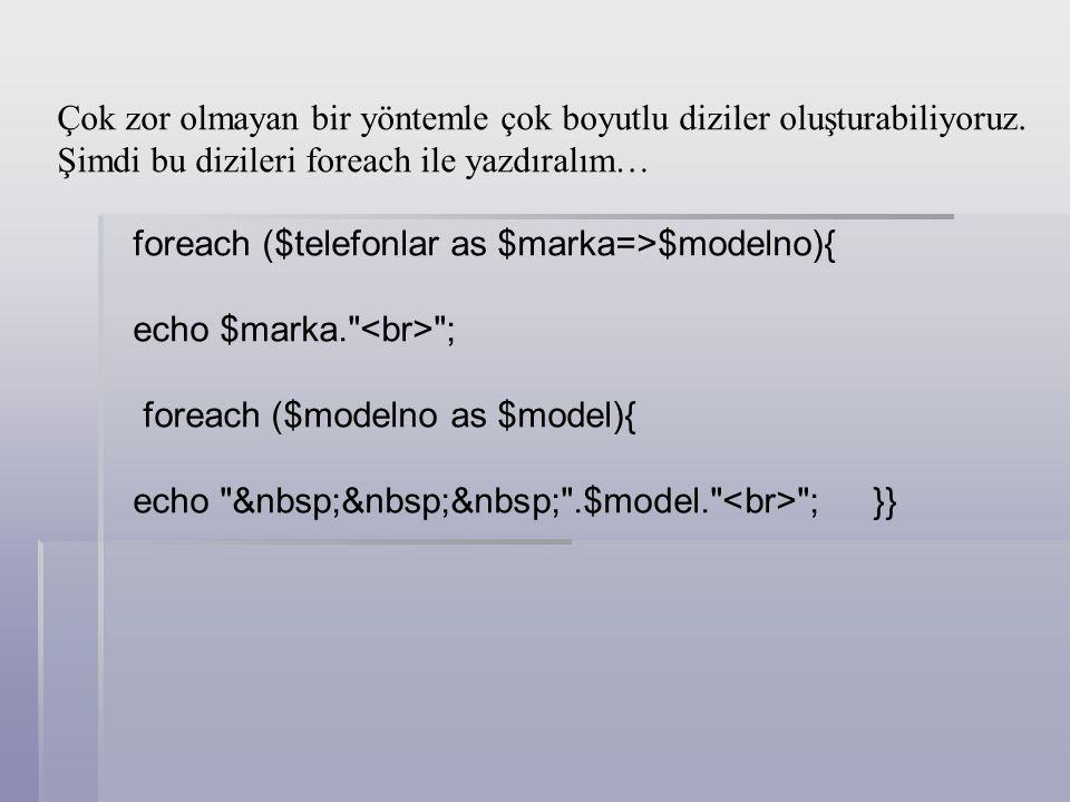 foreach ($ogrenciler as $ogrenci) { print ( $ogrenci ); } Foreach döngüsü, bir dizi değişkenin adını içinden değer çekilecek kaynak olarak ister; Bunu as (olarak) kelimesi izler; Sonra diziden alınacak her bir değeri geçici olarak tutacak değişkenin adı verilir.