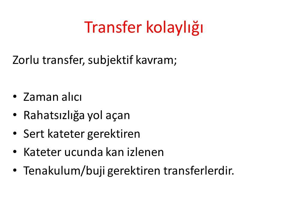 Transfer kolaylığı Zorlu transfer, subjektif kavram; Zaman alıcı Rahatsızlığa yol açan Sert kateter gerektiren Kateter ucunda kan izlenen Tenakulum/bu