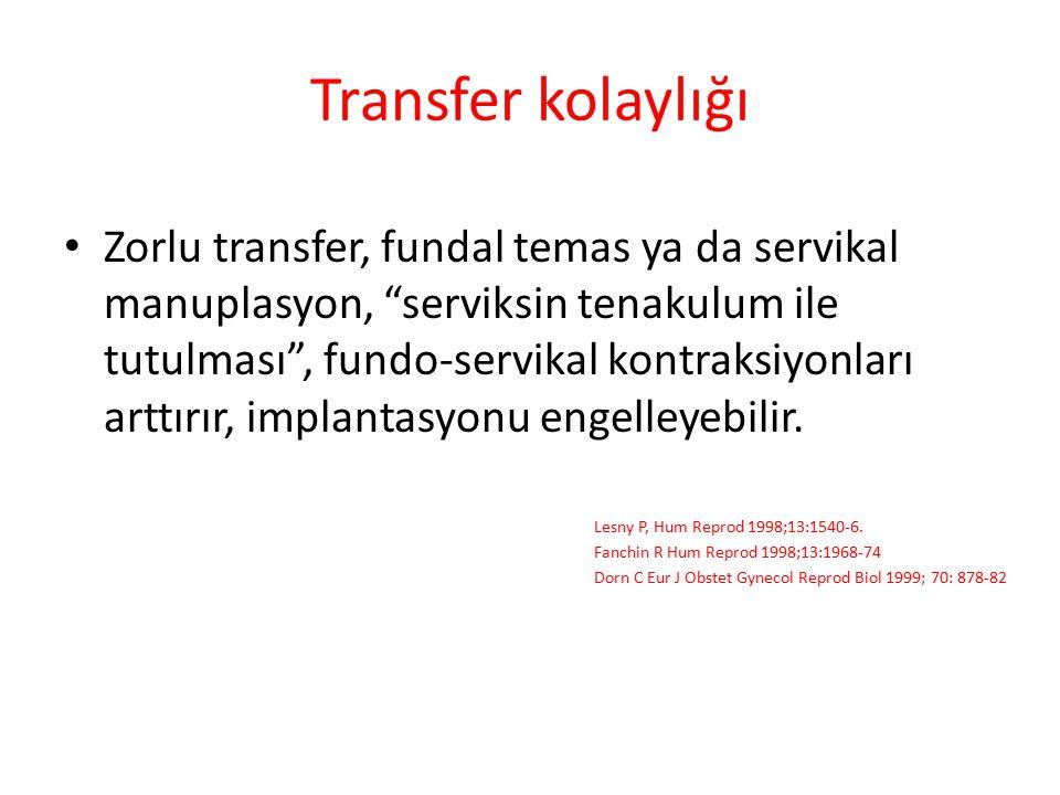"""Transfer kolaylığı Zorlu transfer, fundal temas ya da servikal manuplasyon, """"serviksin tenakulum ile tutulması"""", fundo-servikal kontraksiyonları arttı"""