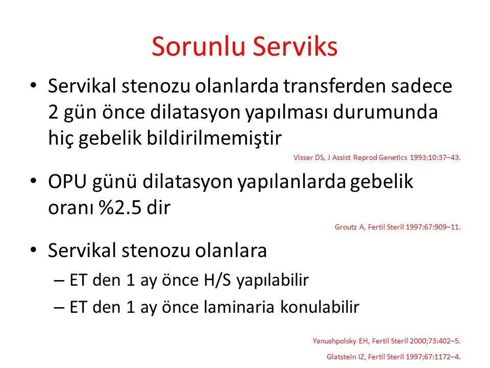 Sorunlu Serviks Servikal stenozu olanlarda transferden sadece 2 gün önce dilatasyon yapılması durumunda hiç gebelik bildirilmemiştir Visser DS, J Assi