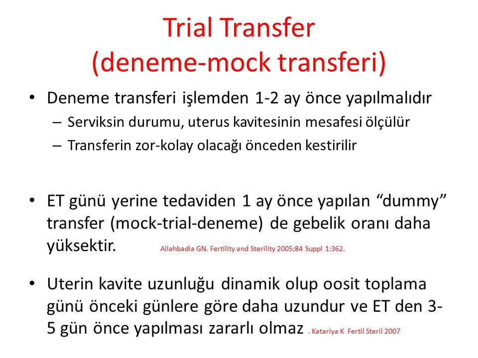Trial Transfer (deneme-mock transferi) Deneme transferi işlemden 1-2 ay önce yapılmalıdır – Serviksin durumu, uterus kavitesinin mesafesi ölçülür – Tr