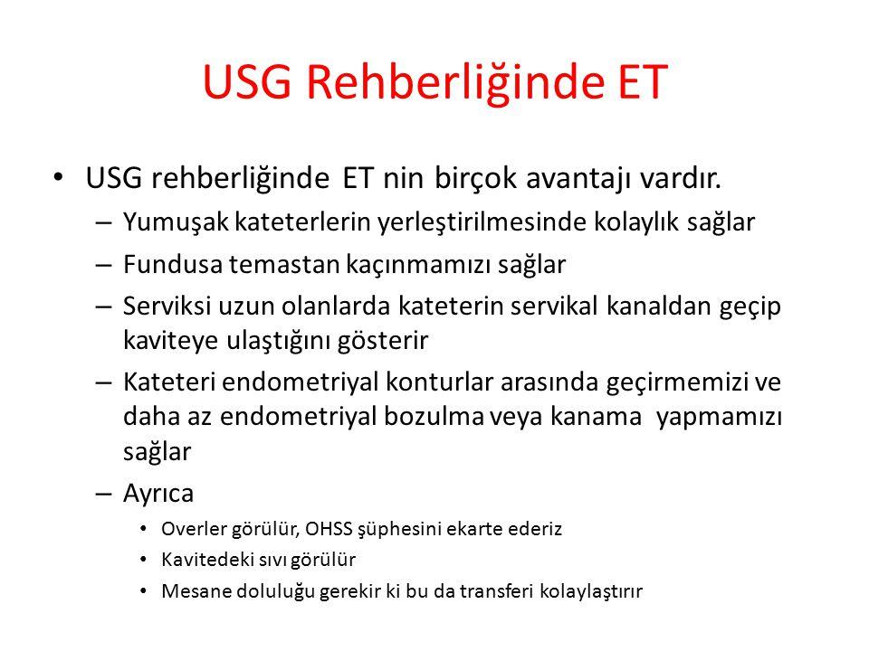 USG Rehberliğinde ET USG rehberliğinde ET nin birçok avantajı vardır. – Yumuşak kateterlerin yerleştirilmesinde kolaylık sağlar – Fundusa temastan kaç