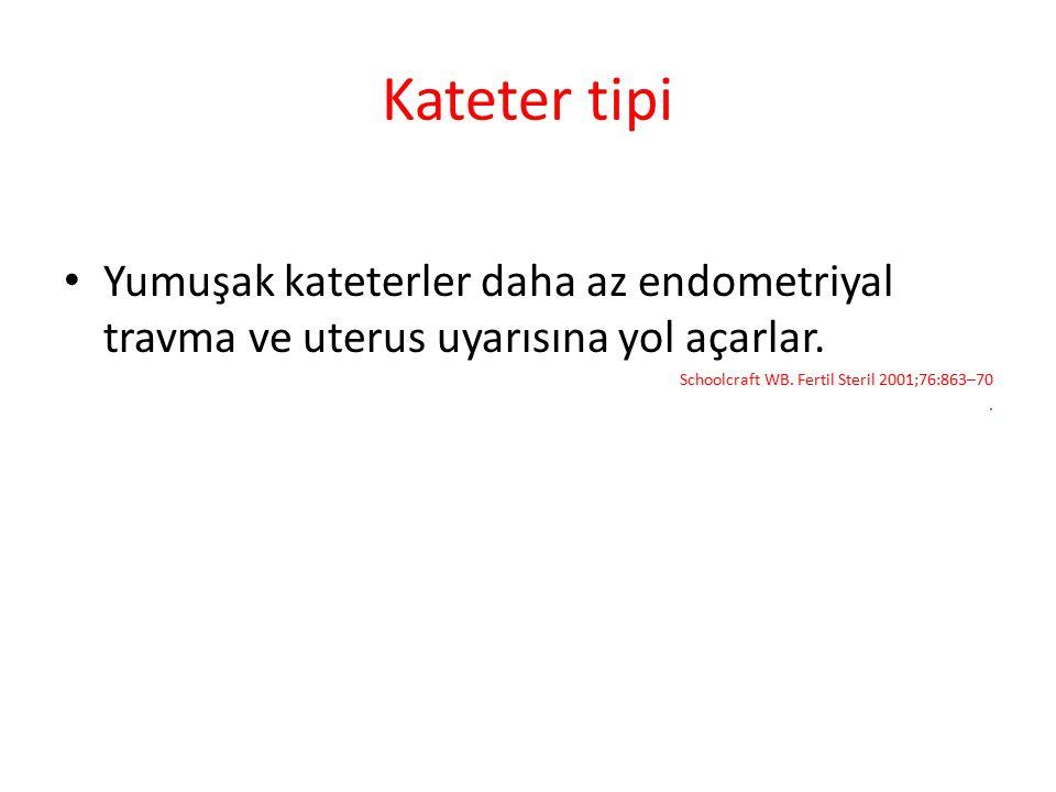 Kateter tipi Yumuşak kateterler daha az endometriyal travma ve uterus uyarısına yol açarlar. Schoolcraft WB. Fertil Steril 2001;76:863–70.