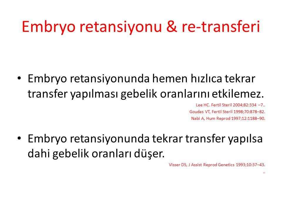 Embryo retansiyonu & re-transferi Embryo retansiyonunda hemen hızlıca tekrar transfer yapılması gebelik oranlarını etkilemez. Lee HC. Fertil Steril 20