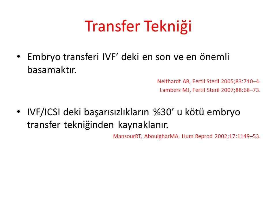 Transfer Tekniği Embryo transferi IVF' deki en son ve en önemli basamaktır. Neithardt AB, Fertil Steril 2005;83:710–4. Lambers MJ, Fertil Steril 2007;
