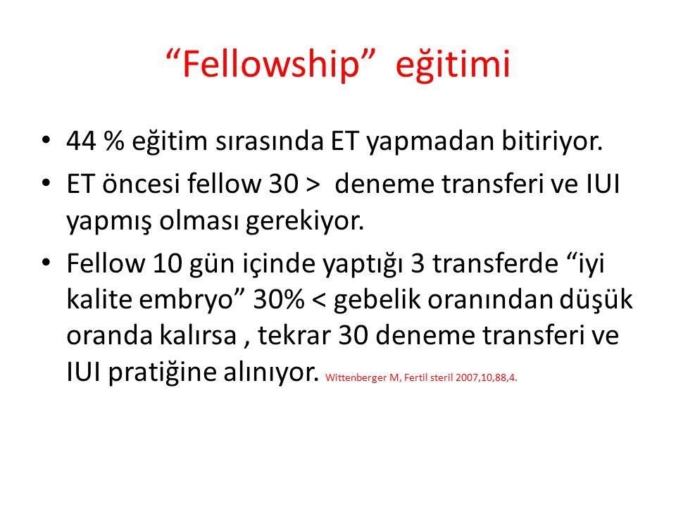 """""""Fellowship"""" eğitimi 44 % eğitim sırasında ET yapmadan bitiriyor. ET öncesi fellow 30 > deneme transferi ve IUI yapmış olması gerekiyor. Fellow 10 gün"""