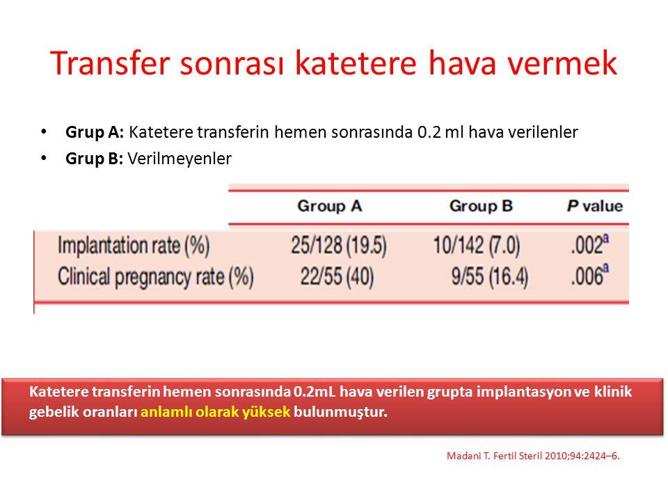 Transfer sonrası katetere hava vermek Grup A: Katetere transferin hemen sonrasında 0.2 ml hava verilenler Grup B: Verilmeyenler Madani T. Fertil Steri