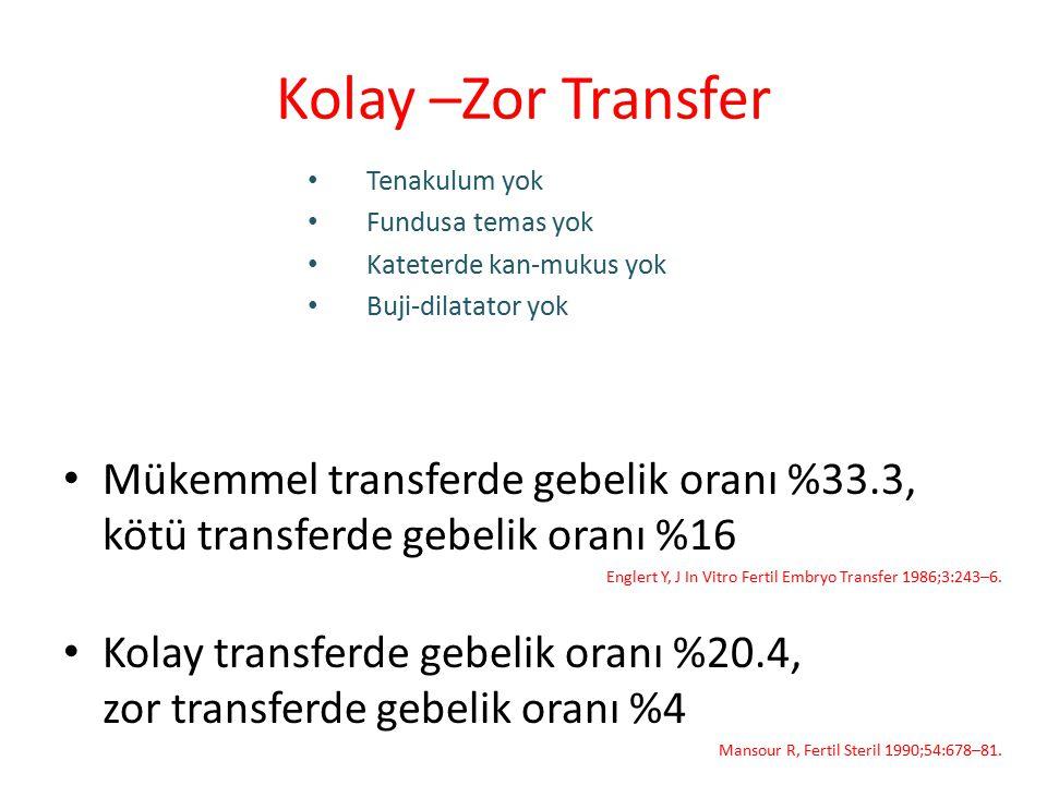 Kolay –Zor Transfer Mükemmel transferde gebelik oranı %33.3, kötü transferde gebelik oranı %16 Englert Y, J In Vitro Fertil Embryo Transfer 1986;3:243