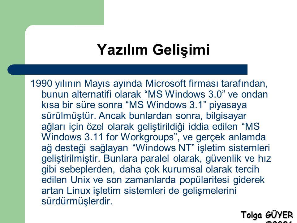 Yazılım Gelişimi 1990 yılının Mayıs ayında Microsoft firması tarafından, bunun alternatifi olarak MS Windows 3.0 ve ondan kısa bir süre sonra MS Windows 3.1 piyasaya sürülmüştür.