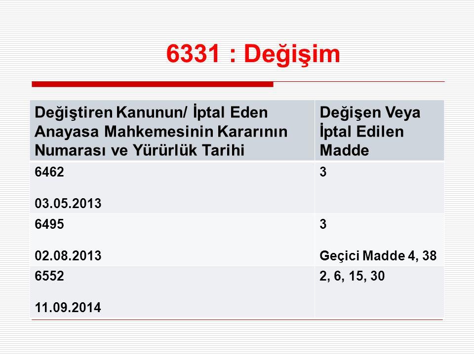 6331 : Değişim Değiştiren Kanunun/ İptal Eden Anayasa Mahkemesinin Kararının Numarası ve Yürürlük Tarihi Değişen Veya İptal Edilen Madde 6462 03.05.20