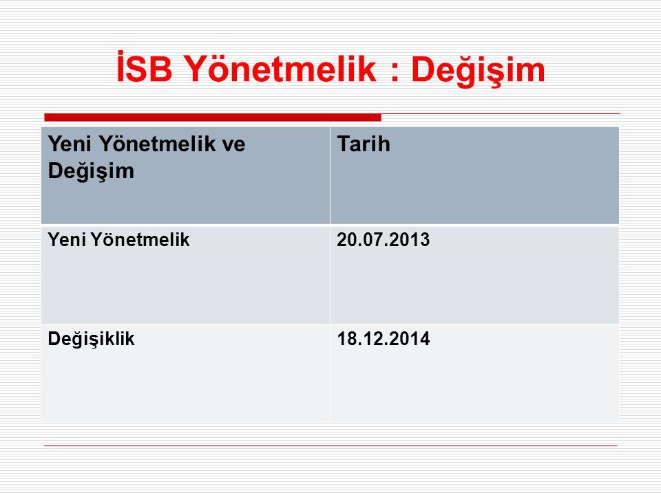 İSB Yönetmelik : Değişim Yeni Yönetmelik ve Değişim Tarih Yeni Yönetmelik20.07.2013 Değişiklik18.12.2014