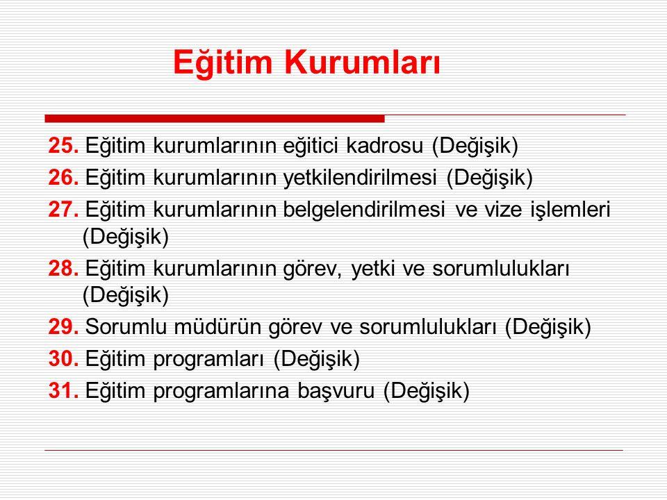 Eğitim Kurumları 25. Eğitim kurumlarının eğitici kadrosu (Değişik) 26. Eğitim kurumlarının yetkilendirilmesi (Değişik) 27. Eğitim kurumlarının belgele