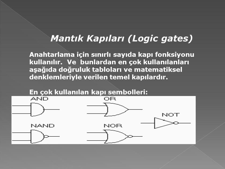 Mantık Kapıları (Logic gates) Anahtarlama için sınırlı sayıda kapı fonksiyonu kullanılır. Ve bunlardan en çok kullanılanları aşağıda doğruluk tablolar
