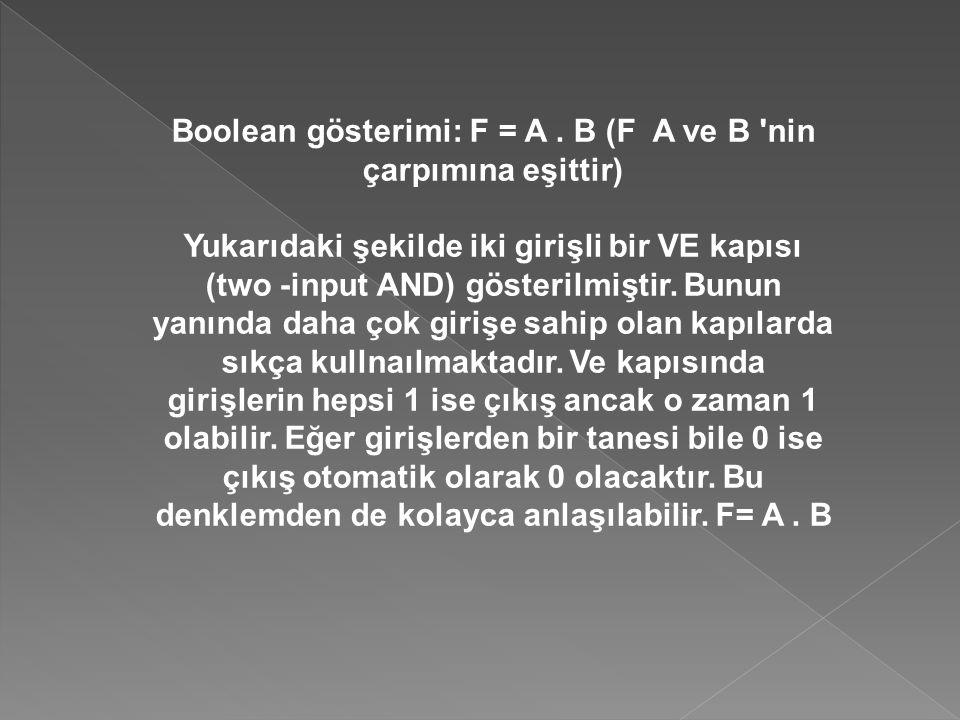 Boolean gösterimi: F = A. B (F A ve B 'nin çarpımına eşittir) Yukarıdaki şekilde iki girişli bir VE kapısı (two -input AND) gösterilmiştir. Bunun yanı
