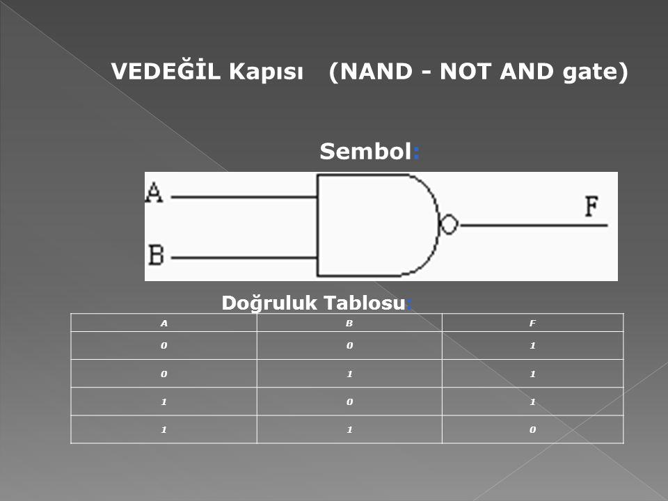 VEDEĞİL Kapısı (NAND - NOT AND gate) Sembol: Doğruluk Tablosu: ABF 001 011 101 110