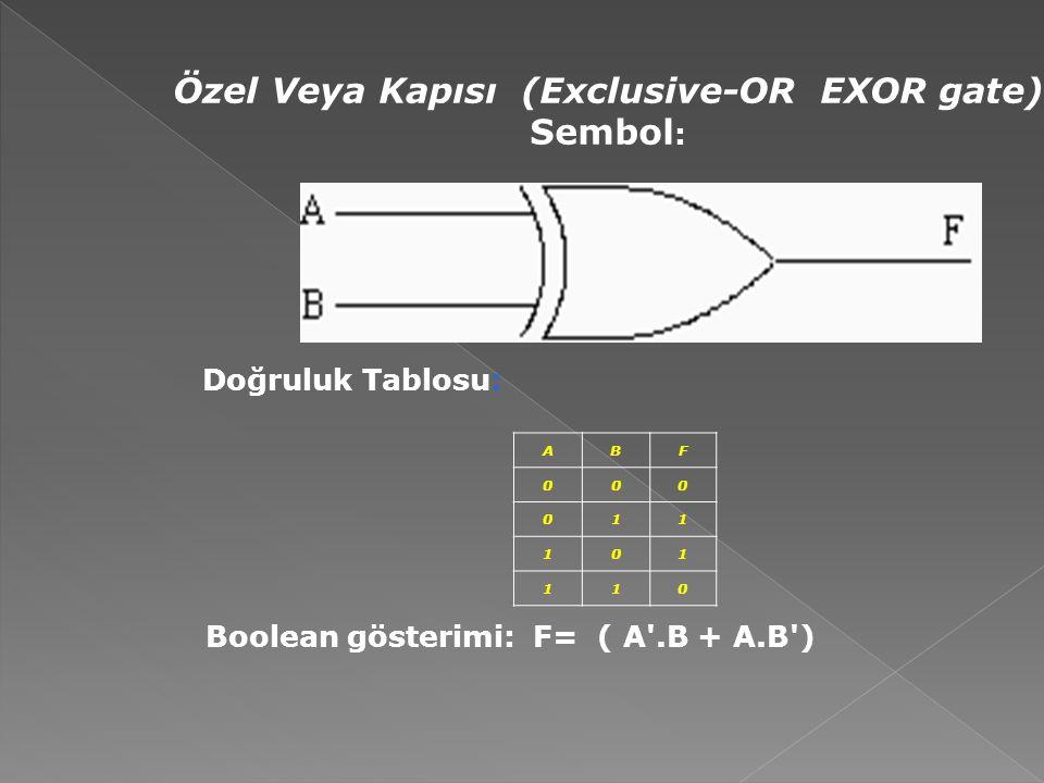 Özel Veya Kapısı (Exclusive-OR EXOR gate) Sembol : Doğruluk Tablosu: ABF 000 011 101 110 Boolean gösterimi: F= ( A'.B + A.B')