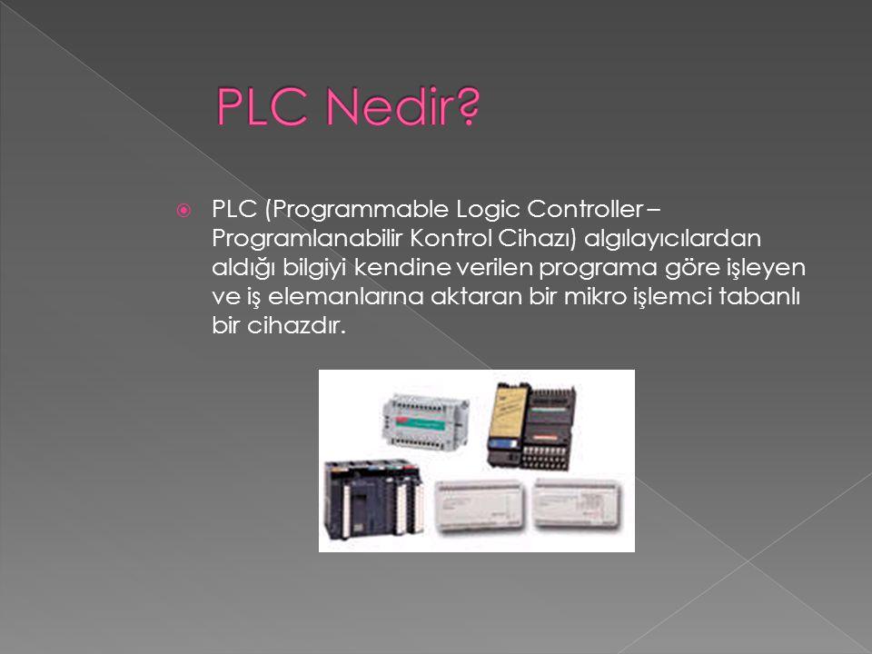 PLC (Programmable Logic Controller – Programlanabilir Kontrol Cihazı) algılayıcılardan aldığı bilgiyi kendine verilen programa göre işleyen ve iş el