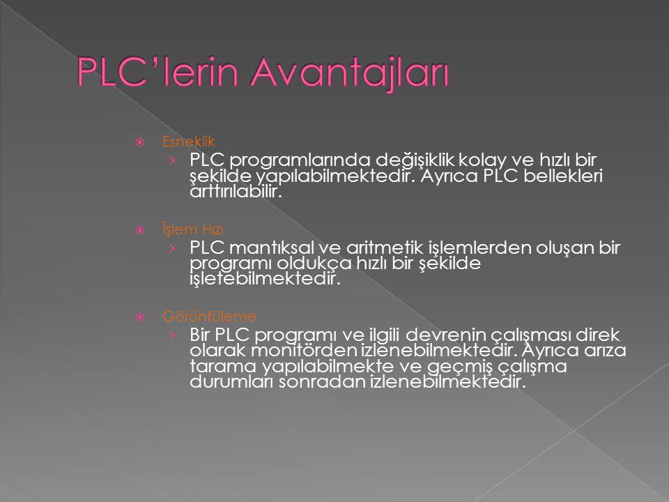  Esneklik › PLC programlarında değişiklik kolay ve hızlı bir şekilde yapılabilmektedir. Ayrıca PLC bellekleri arttırılabilir.  İşlem Hızı › PLC mant