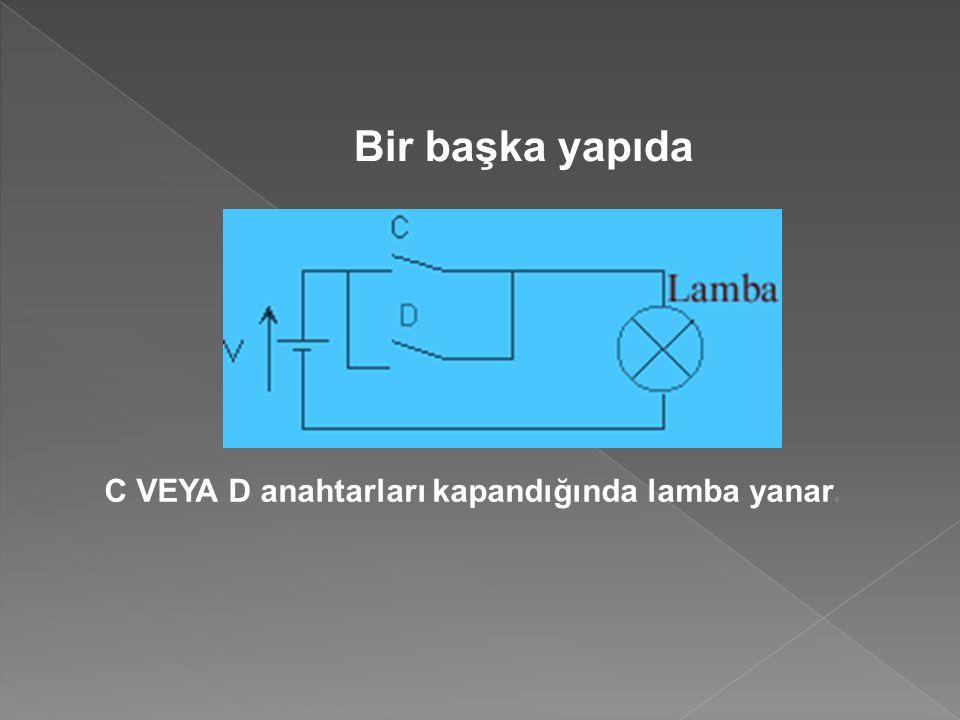 Bir başka yapıda C VEYA D anahtarları kapandığında lamba yanar.