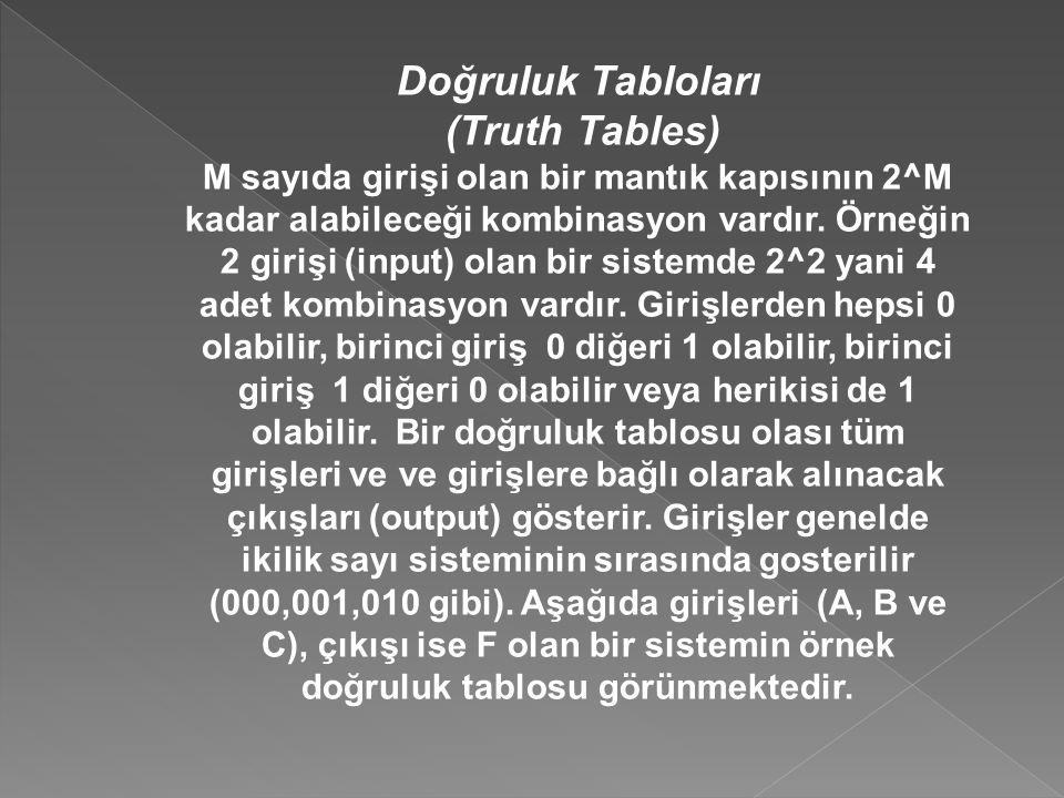 Doğruluk Tabloları (Truth Tables) M sayıda girişi olan bir mantık kapısının 2^M kadar alabileceği kombinasyon vardır. Örneğin 2 girişi (input) olan bi