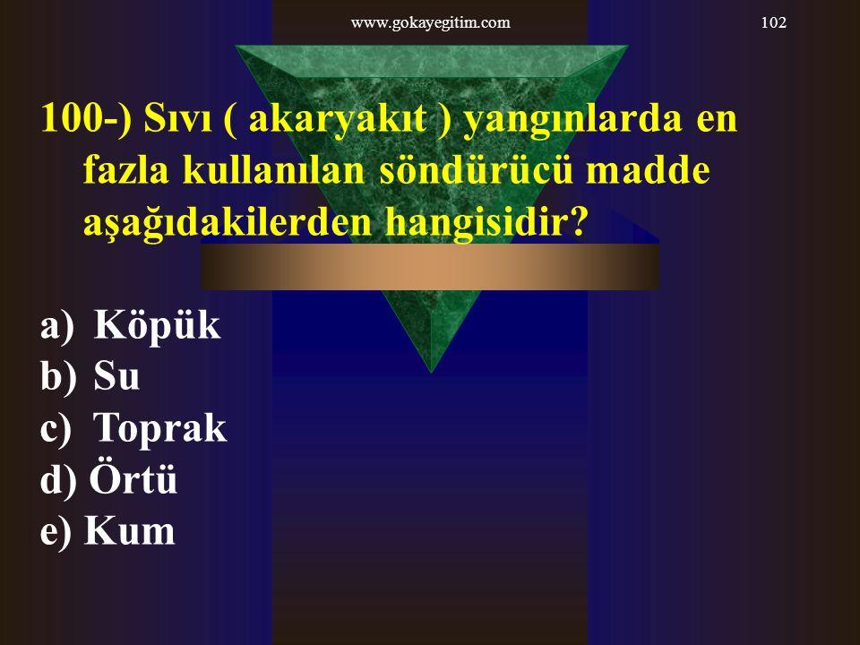 www.gokayegitim.com102 100-) Sıvı ( akaryakıt ) yangınlarda en fazla kullanılan söndürücü madde aşağıdakilerden hangisidir? a) Köpük b) Su c) Toprak d