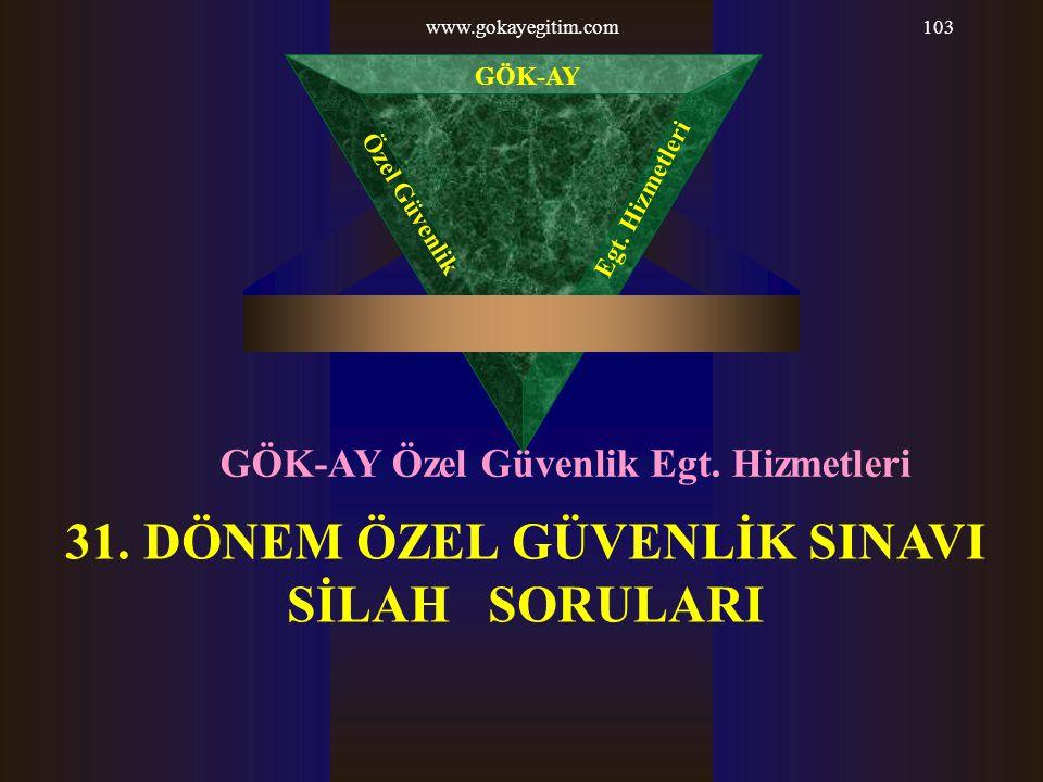 www.gokayegitim.com103 31. DÖNEM ÖZEL GÜVENLİK SINAVI SİLAH SORULARI GÖK-AY Özel Güvenlik Egt. Hizmetleri GÖK-AY Özel Güvenlik Egt. Hizmetleri