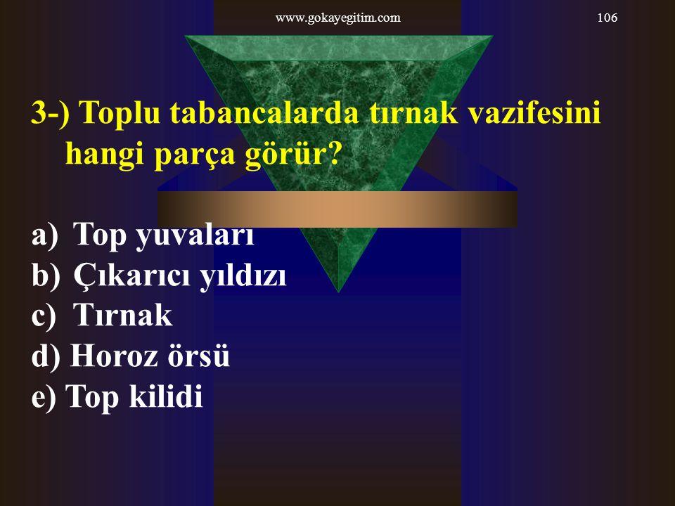 www.gokayegitim.com106 3-) Toplu tabancalarda tırnak vazifesini hangi parça görür? a) Top yuvaları b) Çıkarıcı yıldızı c) Tırnak d) Horoz örsü e) Top